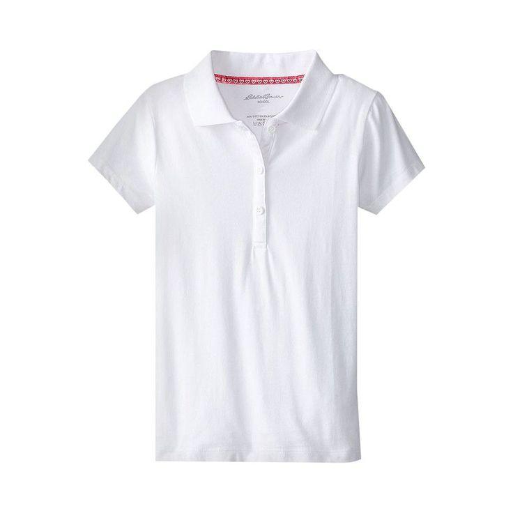 Eddie Bauer Girls' Stretch Knit Polo White 14, Girl's, Size: 14-16