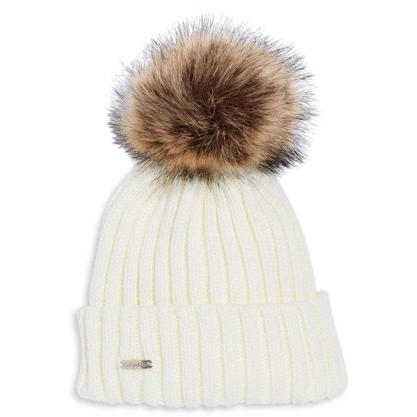 Jewellery & Accessories | Hats, Gloves & Scarves | Faux Fur Pom Pom... found on Polyvore featuring accessories, hats, ribbed beanie, ribbed hat, beanie hat, pompom hat and pom beanie