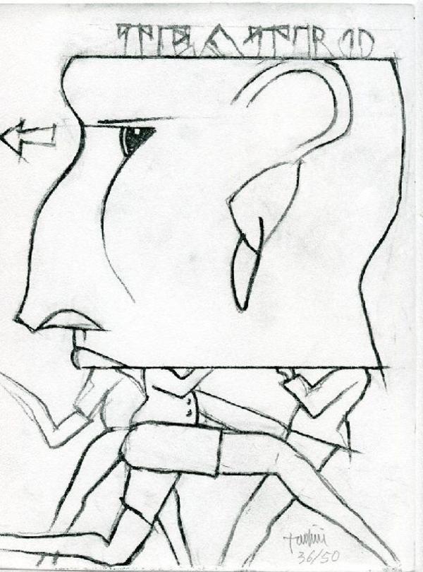 TADINI Emilio, Teatro. 12 poesie, 12 disegni. Reggio Emilia,  Edizioni G,  1980 - Prima edizione di 262 esemplari numerati e firmati. 12 poesie inedite e 12 disegni dell'Artista. Uno dei 50 esemplari arricchiti da un'acquaforte originale di Tadini (cm 30 x 23)