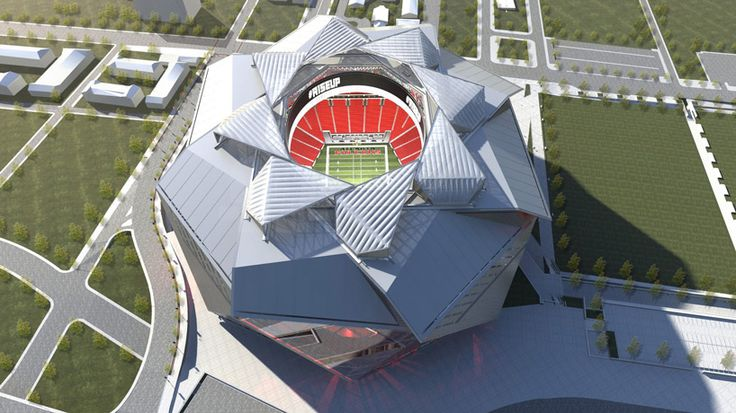 360 architecture covers new atlanta stadium with 8-sided retractable roof