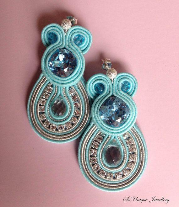Aquamarine blue soutache earrings by SouniqueJewellery on Etsy