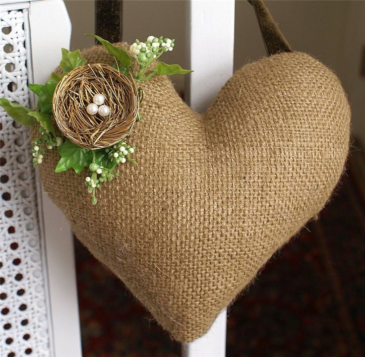 burlap heart with nest