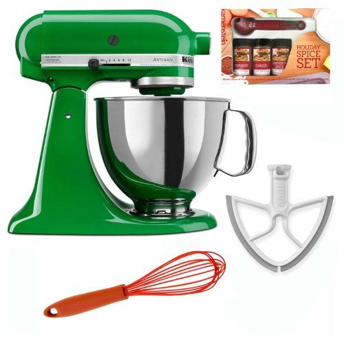 Authentic KitchenAid KSM150 Artisan 5-Qt. Tilt-Head Stand Mixer (Canopy Green) + Beater Blade + Kamenstein Mini Measuring Spoons Spice Set + Silicon Whisk, ,