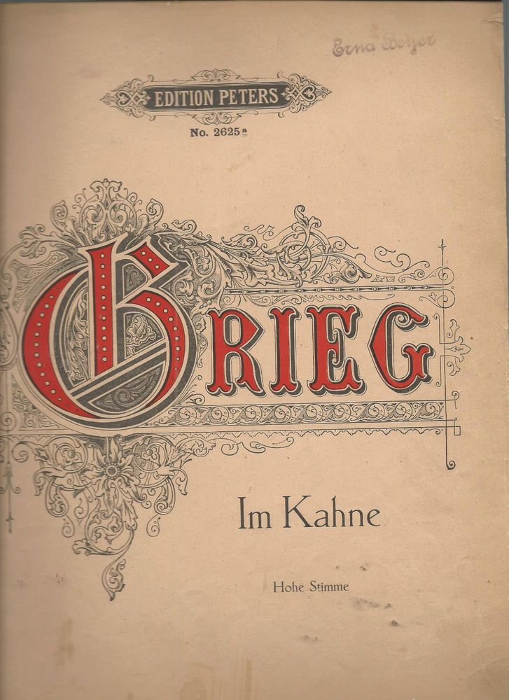 Im Kahne Edvard Grieg German English French Lyrics Sheet Music Vintage