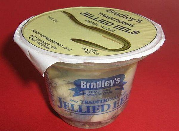 Look! Jellied eel in convenient to-go packs! All you need is the barf bag and pepto bismol!