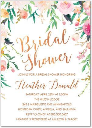 77 best bridal shower invitations images on pinterest bachelorette floral edges faux foil bridal shower invitations stationery invite filmwisefo