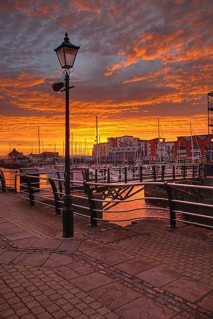 Sunset in Swansea, Wales, UK. Set of Da Vincis Demons.