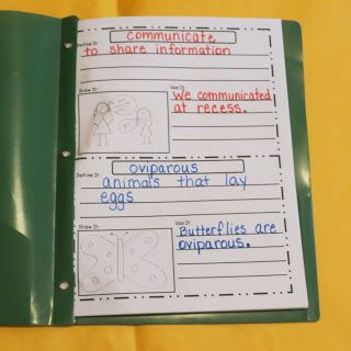 Vocabulary Books via First Grade Shenanigans. I would add synonym and antonym to this.