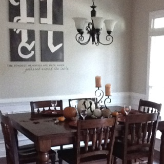 Dining Room Christmas Decorating See More My Formal Dinning I Used The Orange Plates And Painted An H On Each