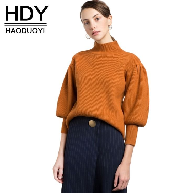 Cheap female sweater, Buy Quality fashion sweater women directly from China sweater women Suppliers: HDY Haoduoyi 2017 Fashion Sweater Women Casual Vintage Solid Orange Pullovers Lantern Sleeve Turtleneck Winter Female Sweater