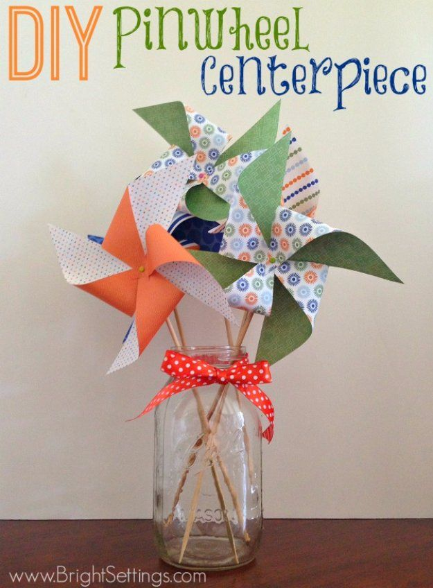 Mason Jar Ideas for Summer - DIY Summer Pinwheel Mason Jar Centerpiece - Mason Jar Crafts, Decor and Gifts, Centerpieces and DIY Projects With Jars That Are Perfect For Summertime - Fun and Easy Lights, Cool Vases, Creative 4th of July Ideas