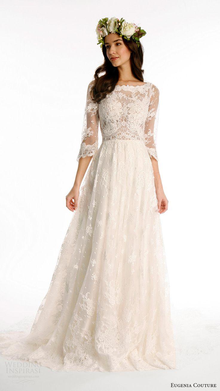 eugenia couture joy bridal spring 2017 3 quarter sleeves bateau alencon lace aline wedding dress (kate) mv