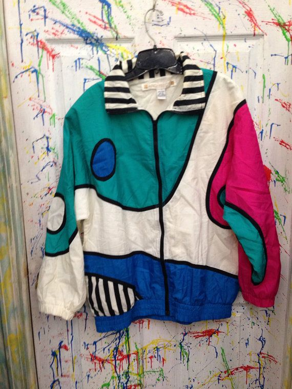 Vintage 80's windbreaker zip up jacket for both men  women size Medium pink green black blue strips circle motif RagsAGoGo, $28.00