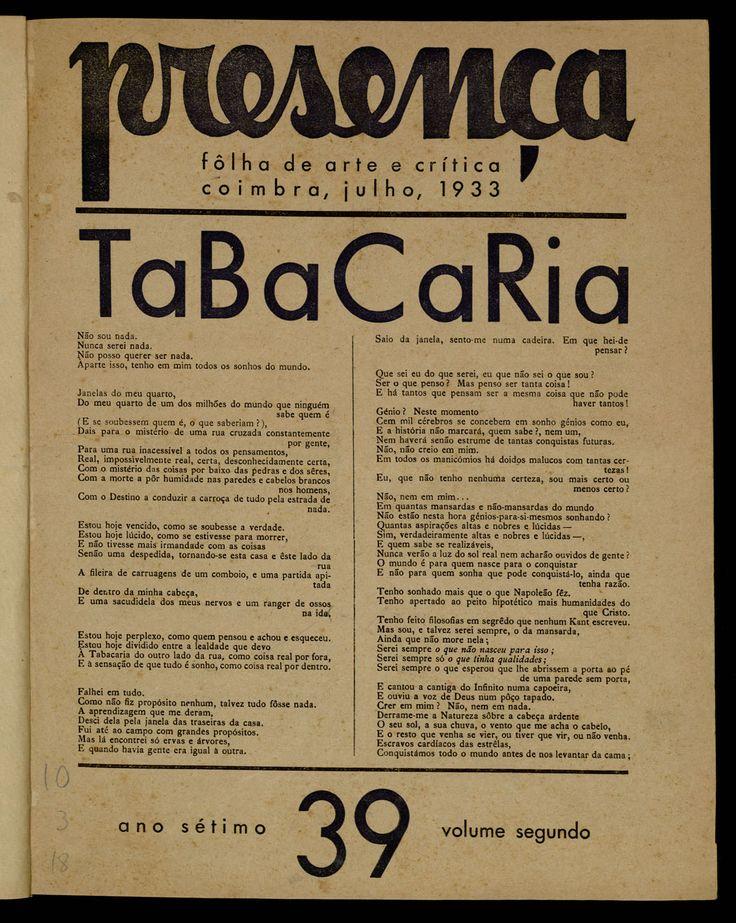 """""""Tabacaria"""", Fernando Pessoa"""