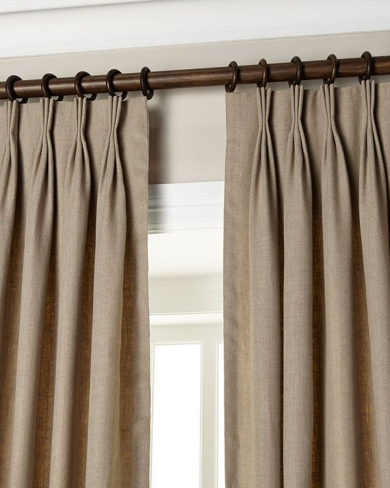 Natural Gray 20 Triple Pinch Pleat Curtains Drapes Panels