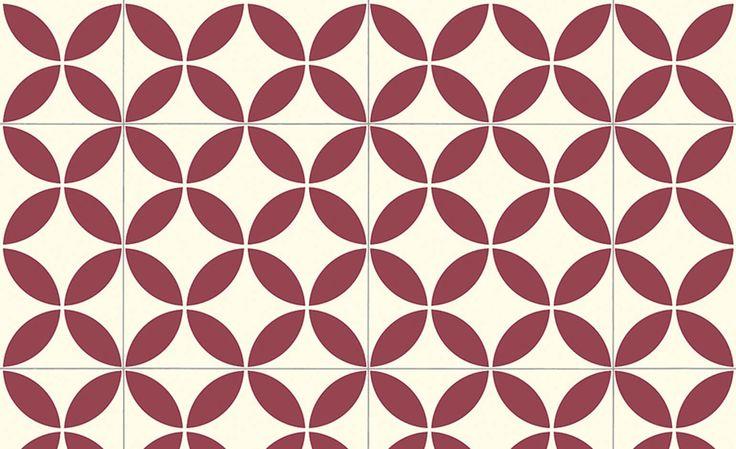 Sol vinyle BUBBLEGUM, carreau ciment rouge, rouleau 2 m