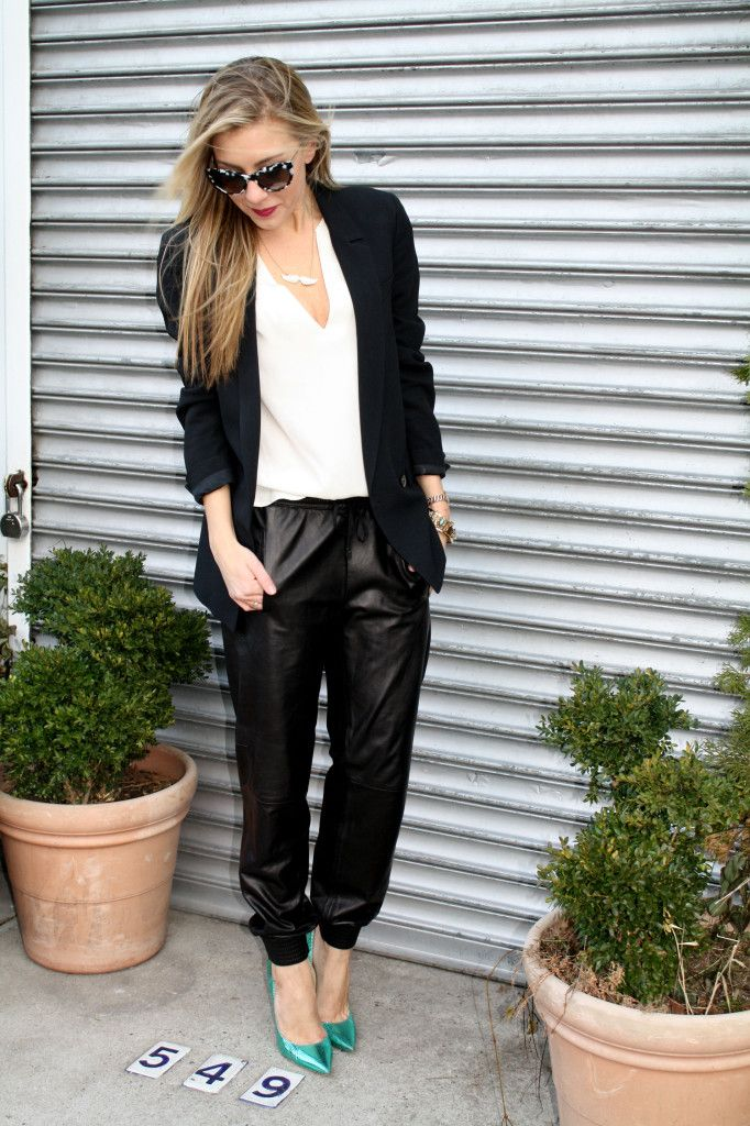Leather jogging pants & heels