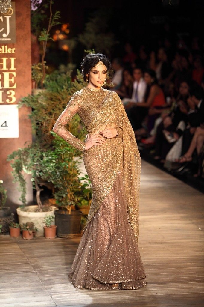 Gold & Light Brown Sparkly Sabyasachi #Saree With Sleeves. Image: Dwaipayan Mazumdar/Vogue.