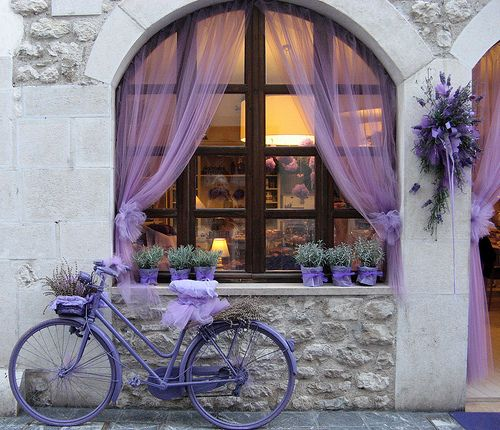 Lavender: Bicycles, Stores Front, Curtains, Shades Of Purple, Window, Color, Places, Lavender, Vintage Bike