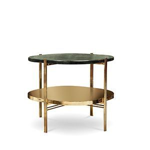 Craig is a round end table that combines a stylish polished brass structure with a verde guatemala marble top. The four legs of the table provide support for a low storage space, making this side table the perfect addition for your living room.