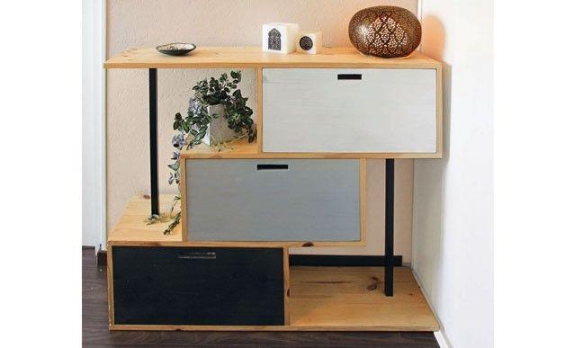 Un meuble d'entrée en lamellé-collé - DIY : http://www.systemed.fr/realisations-lecteurs/roulotte-haute-couleur,1728.html