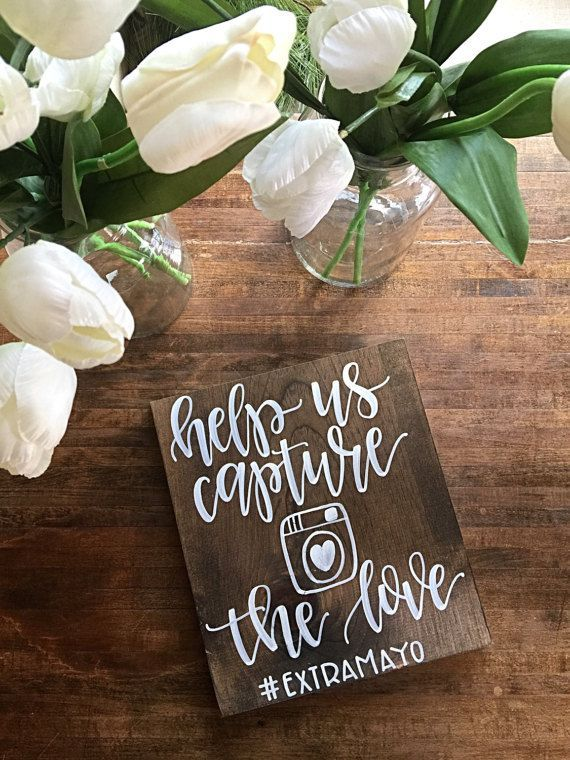 Will put a sign out on my wedding too! Just create a hashtag for your wedding and let your guest share their photos. Love the rustic wood sign! #ad #affiliate #wedding #sign #photo #instagram #etsy #handmade #shopsmall #smallbusiness