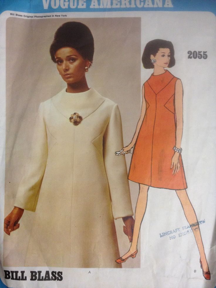 Vogue 2055, Misses one piece dress, Sz 14 (36), Bill Blass Americana, 1960s