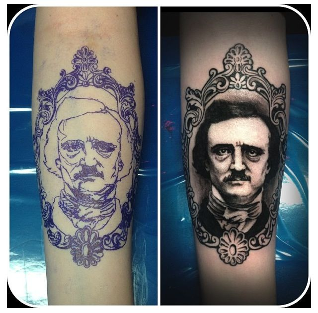 Gorgeous Edgar Allan Poe tattoo. Love the filigreed framework.