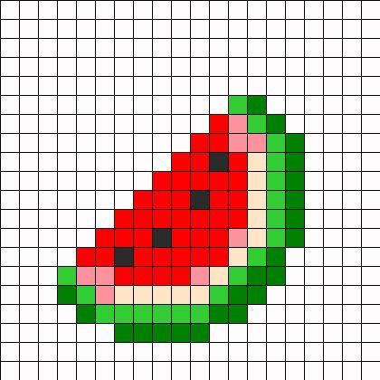 Minecraft Melon Slice Perler Bead Pattern.