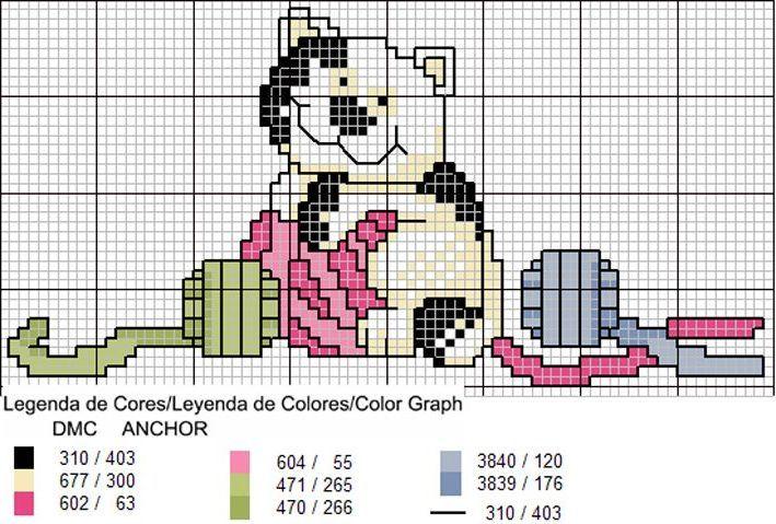 Schema punto croce Gattino lana
