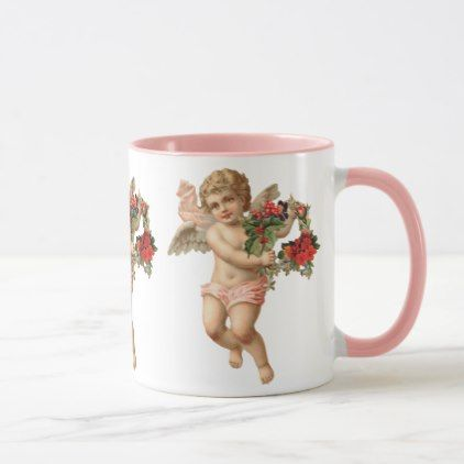 #Vintage Christmas Victorian Angel w Floral Wreath Mug - #Xmas #ChristmasEve Christmas Eve #Christmas #merry #xmas #family #kids #gifts #holidays #Santa