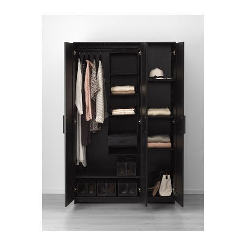 BRIMNES Wardrobe with 3 doors - black - IKEA