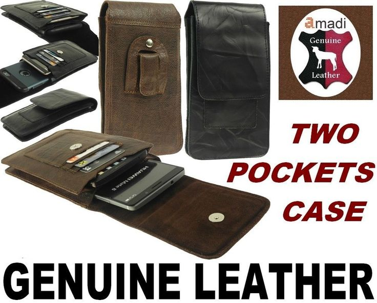 TWO POCKET FLAP GENUINE LEATHER BELT POUCH WITH CARD POCKETS FOR MOBILE PHONES #Amadi