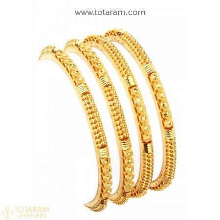 22K Gold Bangles - Set of 4 (2 Pair)  - 235-GBL1193 - Buy this Latest Indian Gold Jewelry Design in 69.050 Grams for a low price of  $3,576.55