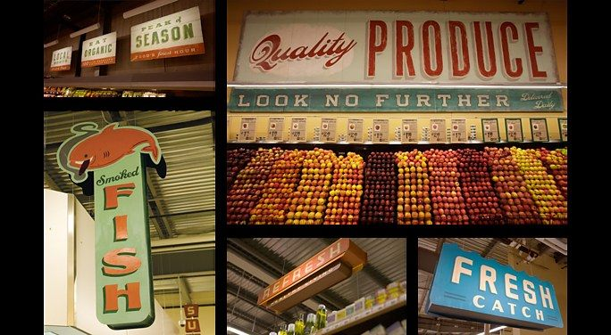 Vintage signage examples. Liking the vertical sign to be seen from afar.