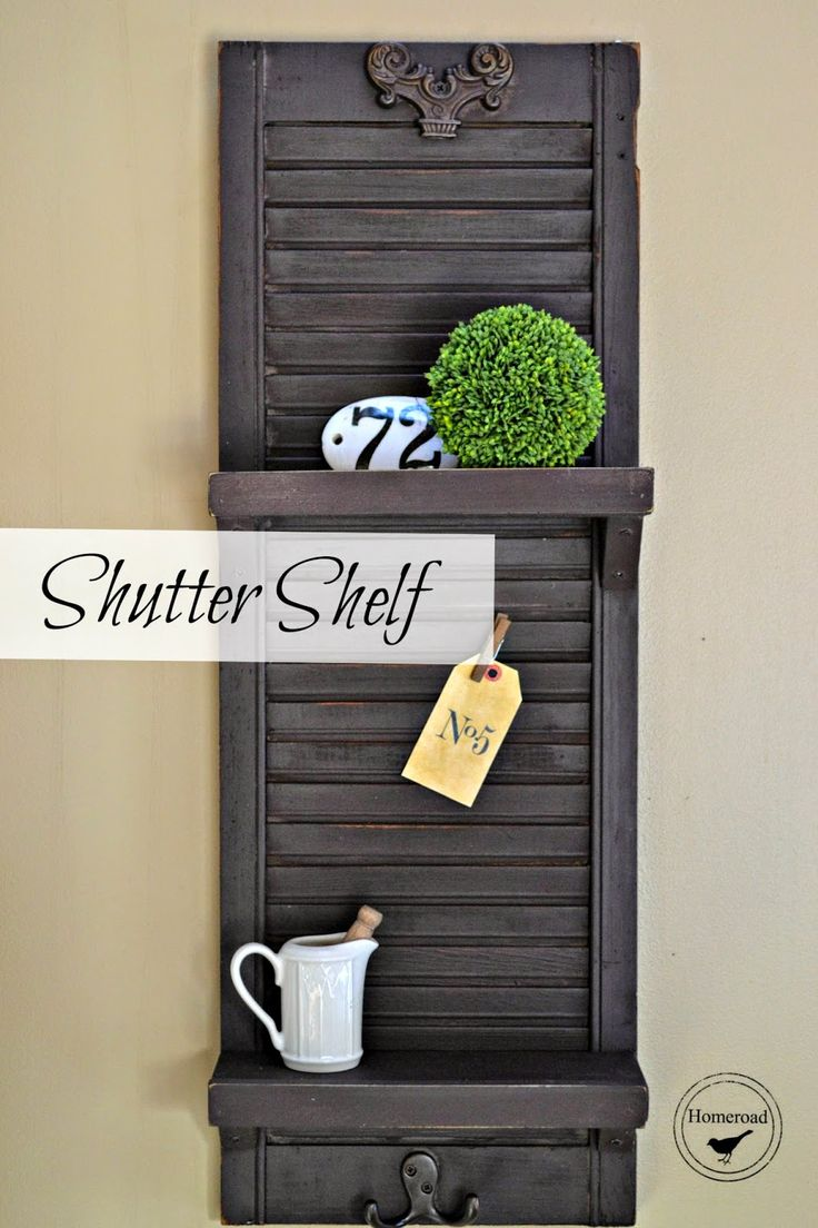 Shutter Shelf painted with Miss Mustard Seed Milk Paint in Curio www.homeroad.net