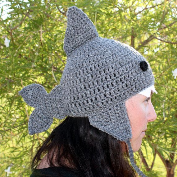 Shark Earflap Hat with Teeth...Crochet Gray Beanie.....please send size Baby - Adult