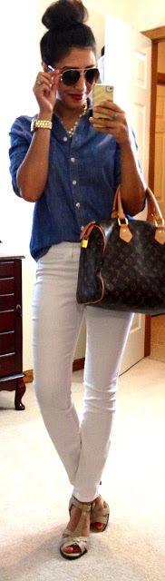 chambray button-up + white pants