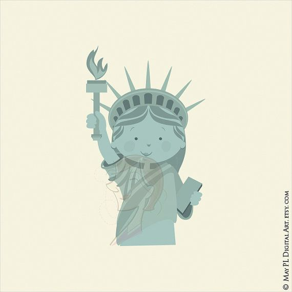 Statue of Liberty USA Statue Freedom Symbol by MayPLDigitalArt #SymbolFreedom #GreenStatue #StatueOfLiberty #Girl #Clipart