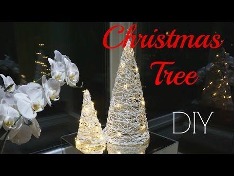 Как сделать декоративную елку из ниток - YouTube