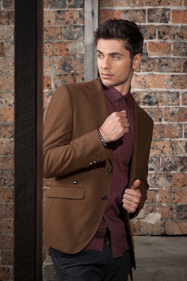 Men's Slim Fit Military Blazer – Brown $129.95 #Blazers&Jackets #www.sieteclothingco.com.au