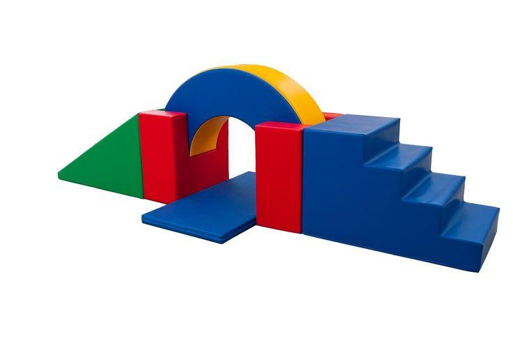Parcours motricité « Pont » (6 modules) – Parcours de motricité pour les tout petits avec 1 rampe, 1 escalier, 1 tapis, 1 tunnel et 2 supports. #espace #enfants #modules #mousse #motricité #escalier #tunnel #couleur #forme #parcours #activité #loisirs #jouer #bouger #amusement #agencement #aménagement