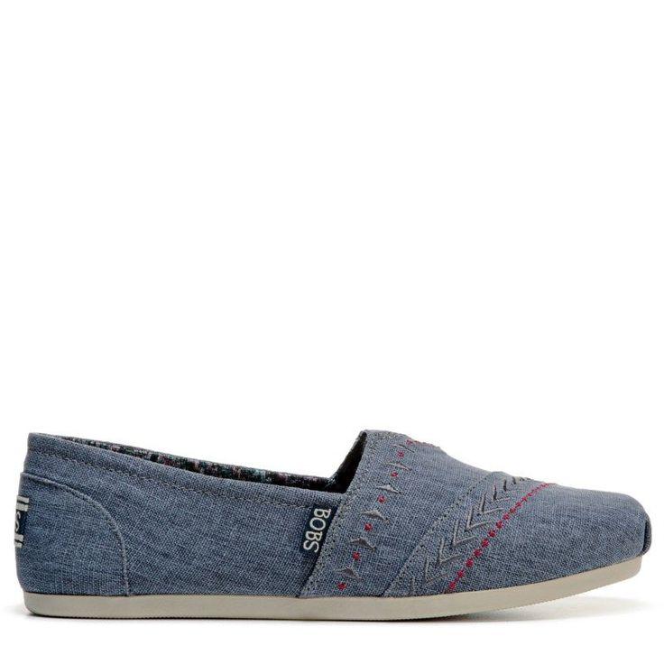 Skechers Women's Bobs Plush Feather Slip On Shoes (Blue)