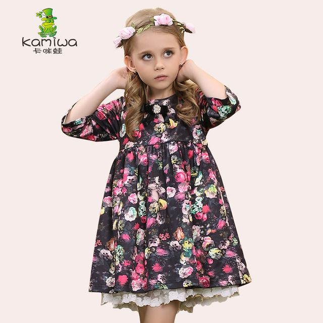 KAMIWA brand Floral Print Little Bird Lace Girls Dresses Autumn Flower Princess Party Toddler Children Clothing Kids Clothes