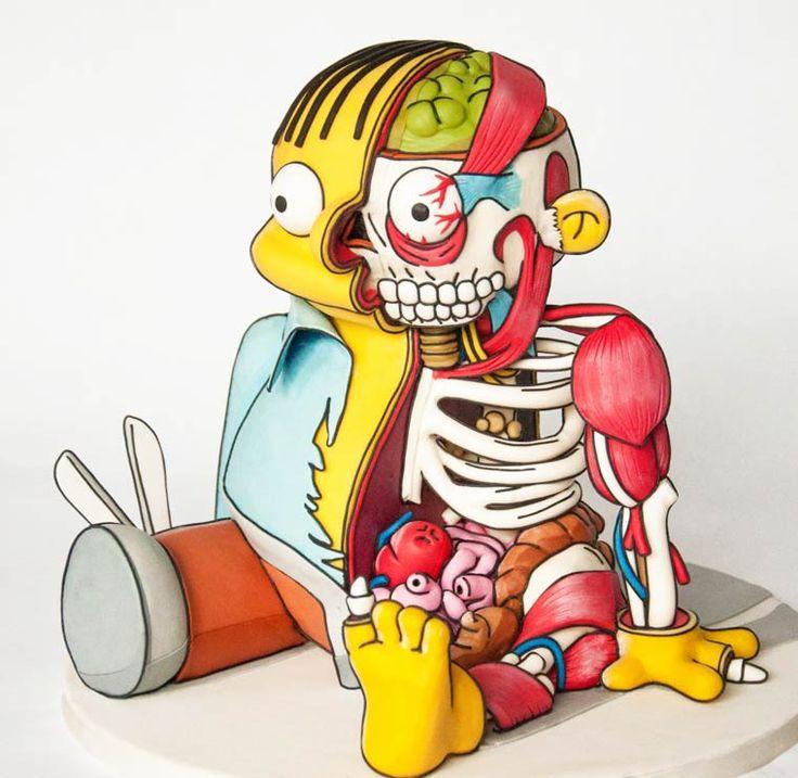 Dans la pure lignée des dissections pop culture de l'artiste Jason Freeny, je vous propose aujourd'hui le Ralph Wiggum Cake imaginé par la designer Kylie Mangles d'après une illustration d'Eric Flores ! Une création culinaire étonnante qui mélange cake design, anatomie et cartoon autour de ce personnage récurrent des Simpson. A table !