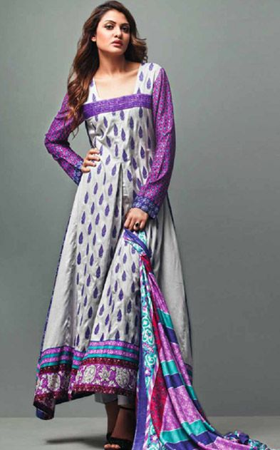 Shop Winter Collections at pakrobe.com BuyOff-White/Purple Printed Linen Salwar Kameez Dress by Feminine Cloth only at PakRobe.com