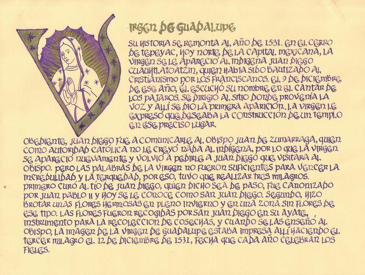 Lámina con historia de la Virgen de Guadalupe. Hecha a mano.