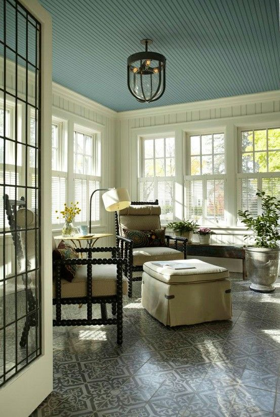 Turquoise beadboard sunroom ceiling i want to have my for Painting on ceiling