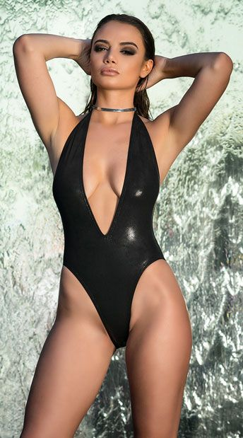 Metallic Stunner One Piece Swimsuit   yandy   One piece