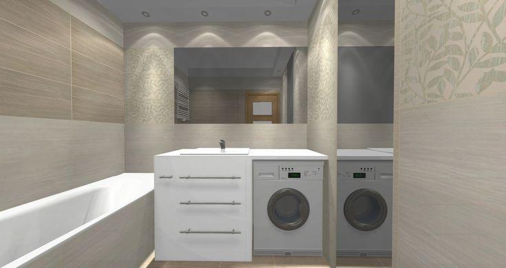 Wnętrza, mała łazienka w bloku - Bedzię półka pod lustrem (pod spodem ledy) i inna szafka, na nóżkach i krótsza tak by z lewej strony powiesić ręcznik. Tylko jaki kolor...
